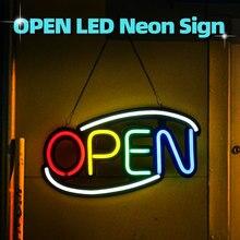 Signo de neón abierto tubo de luz LED hecho a mano obra de arte Visual café Bar Club decoración de pared KTV Iluminación comercial coloridas bombillas de neón