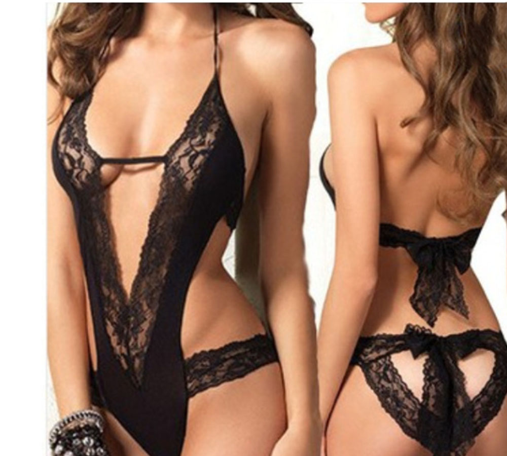 Women Lingerie Sexy Hot Erotic Lingerie Black Lace Spliced Erotic Lingerie Sexy Costumes Backless Exotic Apparel Sleepwear