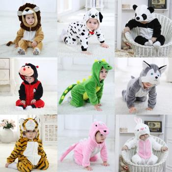 Umorden Infant Toddler Ladybug Dog Lion Tiger Dinosaur Costumes Baby Boys Girls Kigurumi Cartoon Animal Onesies Romper Halloween