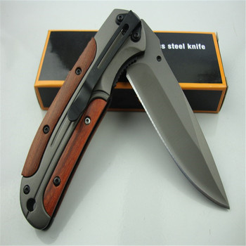 DA43 quick opening folding knife (gray titanium)  440C all steel + acid wood handle Military Survival hunt and camp Knife Pocket 6