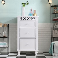 GIANTEX Modern White Bathroom Cabinet Home Furniture Wood Kitchen Collection Storage Organizer Floor Cabinet HW57016