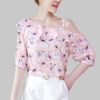 2019 Lente Zomer Off Shoulder sexy Vrouwen Elegant Casual Blouse Bloemenprint Ontwerp Half Mouwen Basic Top