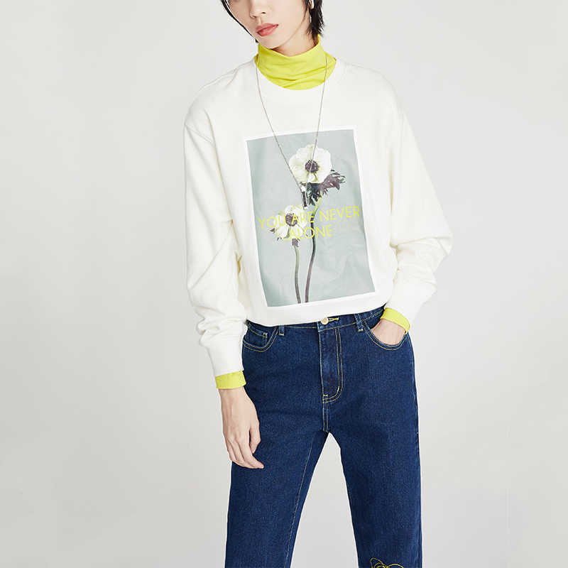 Toyouth Casual Printed Flower Long Sleeve Sweatshirts Women Round Neck Hoodies Autumn Loose Tracksuits Female