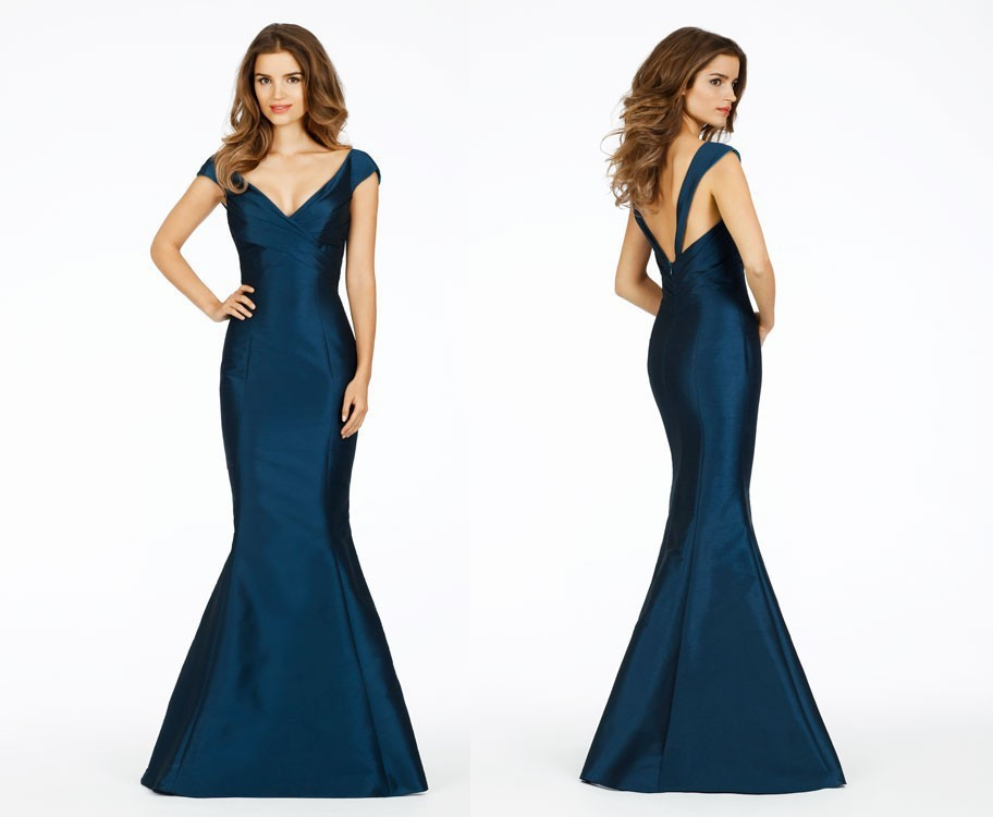 2015 new fashion Sexy v-neck mermaid elegant evening dresses Classic cap sleeves backless custom made long satin party gown