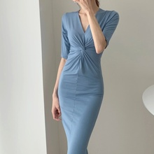 2019 new Summer and fall lady wrap hip dress V-neck sexy over the knee slim body lift hip outdoor fashion office dress Plus size