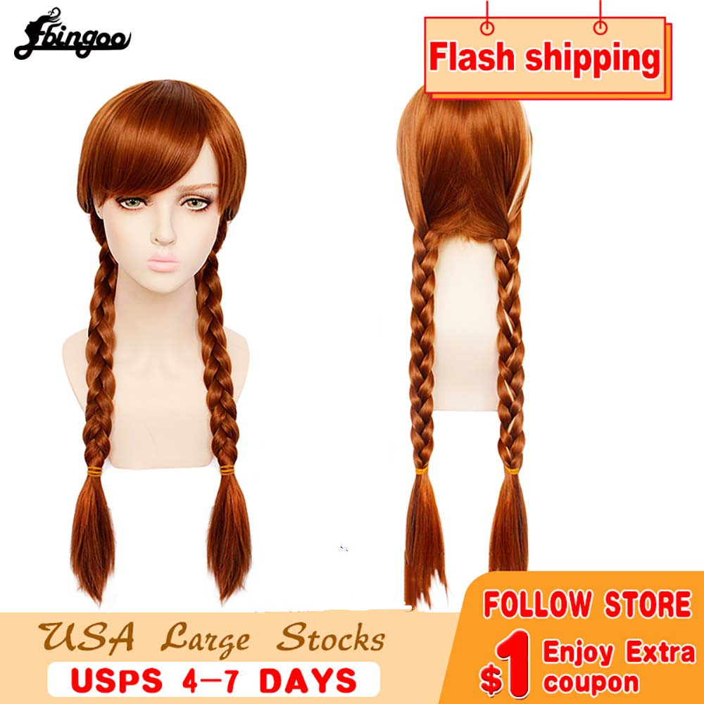 Image 5 - Ebingoo Merida Wig Orange Wig Tinker Bell Princress Belle Ariel Rapunzel Wig Brown Red Blonde Long Synthetic Cosplay Women WigSynthetic None-Lace  Wigs   -