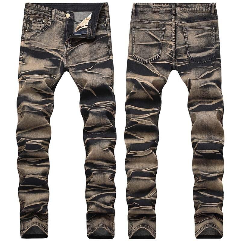 KIOVNO Fashion Men Painted Denim Trousers Multi Color Sretch Printed Jeans Pants For Male Size 29-42 (2)