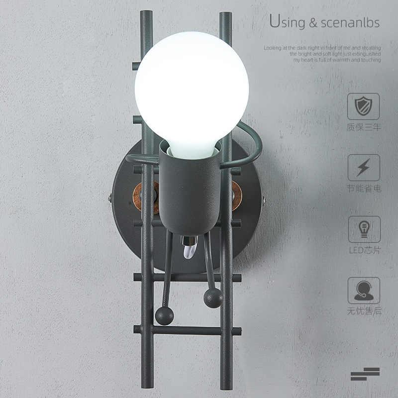 Скандинавская простая мультяшная кукла робот светодиодная настенная лампа железная деревянная прикроватная тумбочка для спальни светильник для детской комнаты фон Настенный декор
