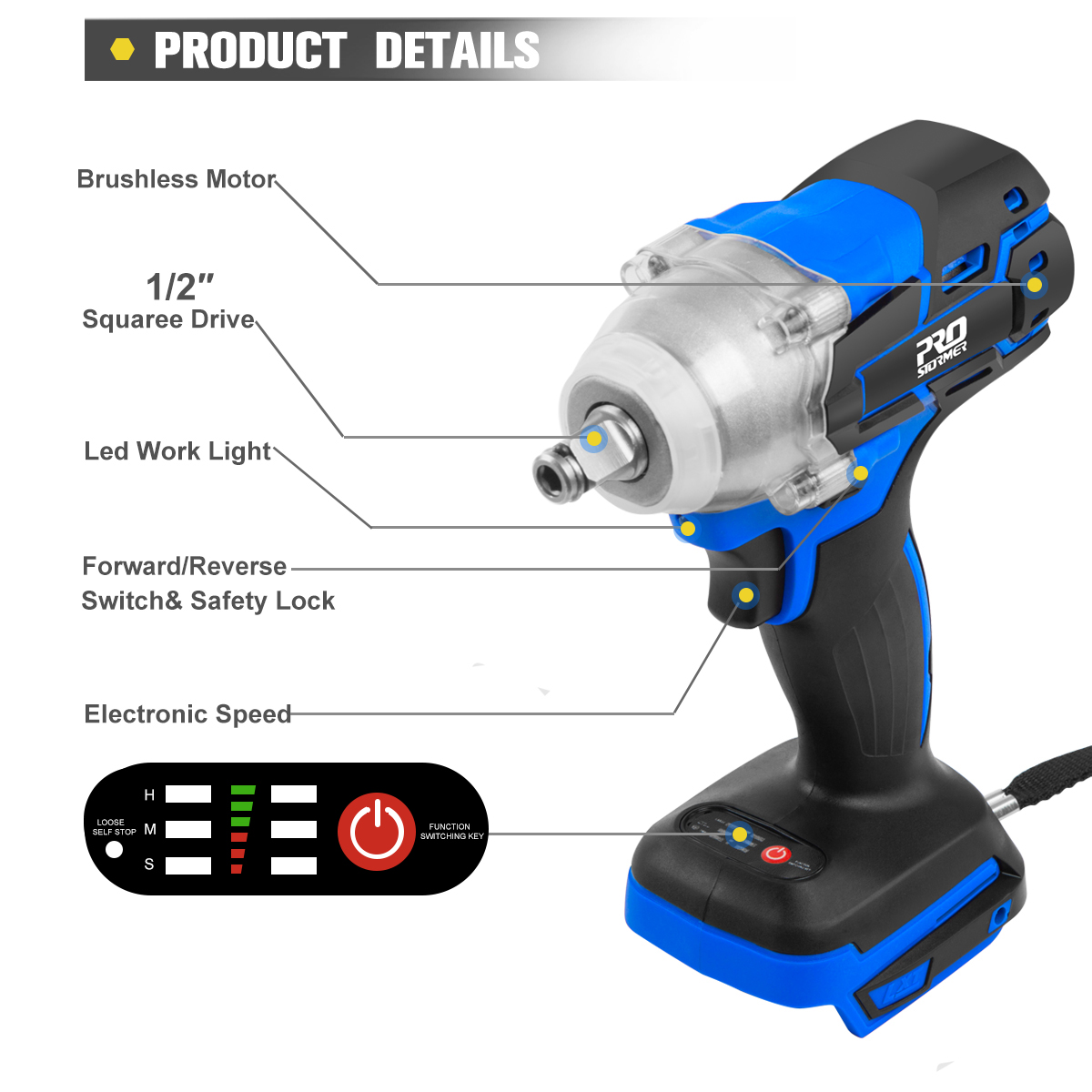 Tools : Electric Rechargeab Brushless Wrench Impact Cordless Electric Drill Screwdriver Without Lithium Battery 21V By PROSTORMER