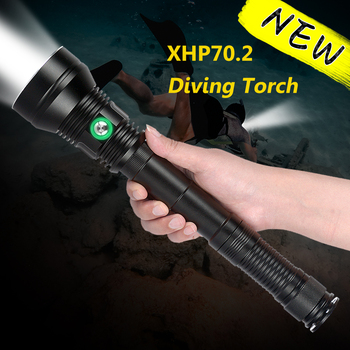цена на Professional Powerful Diving Flashlight IP8 Waterproof Led flashlight XHP70 Underwater 200M Scuba Dive Torch for Dive