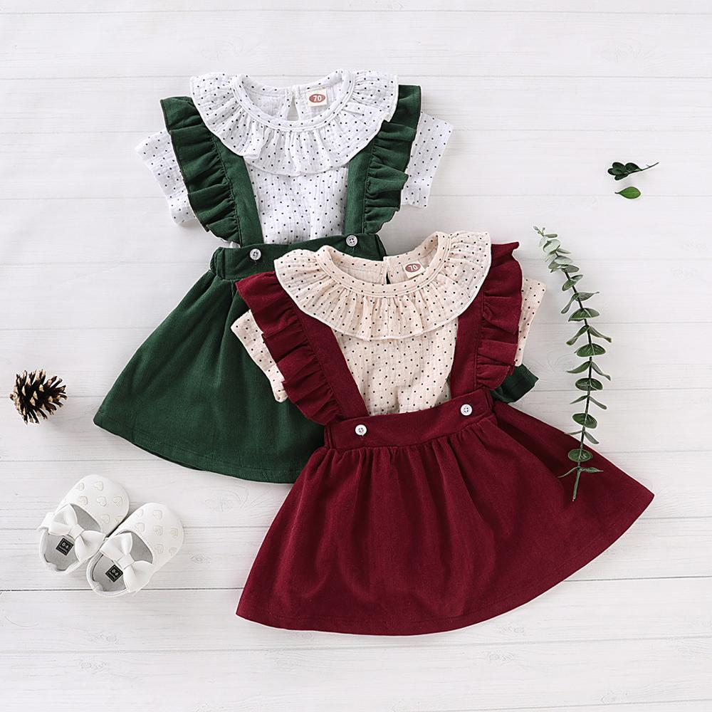 Newborn Infant Baby Girl Clothes Short Sleeve Polka Dot Ruffle Tops Sling Skirt Pants 2Pcs Clothes Set 0-24M Baby Child Clothes