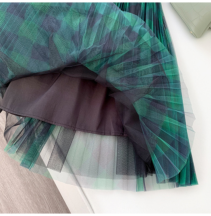 Hb079c289e0794a1abc0325dcc0a42c430 - TIGENA Green Red Long Plaid Tutu Tulle Skirt Women Fashion New Elegant A Line High Waist Pleated Maxi Skirt Female Ladies