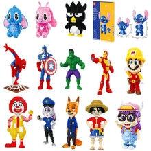 Disney 26styles cross stitch build block Spiderman Blocks Building Toys Cartoon Anime Characters Teaching Children's Toy