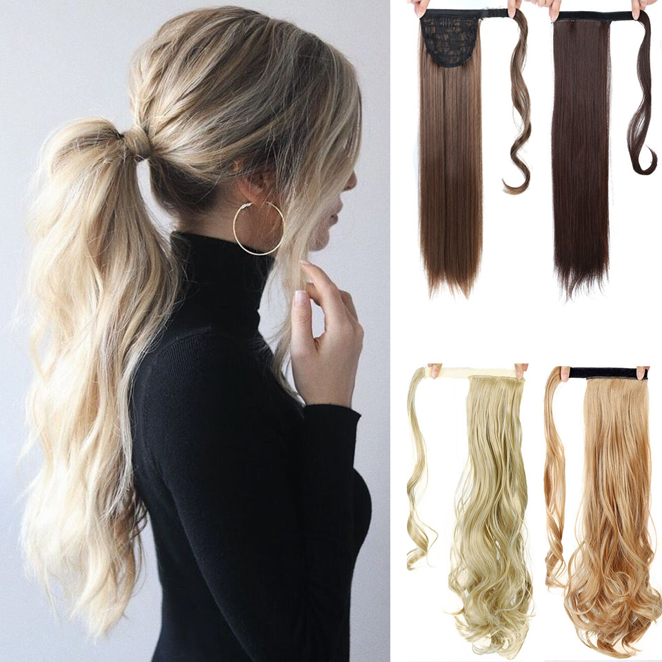 SHANGKE 24''Long Straight Drawstring Ponytail Clip In Synthetic Hair Extension Extensions Wrap On Hair Temperature Fiber