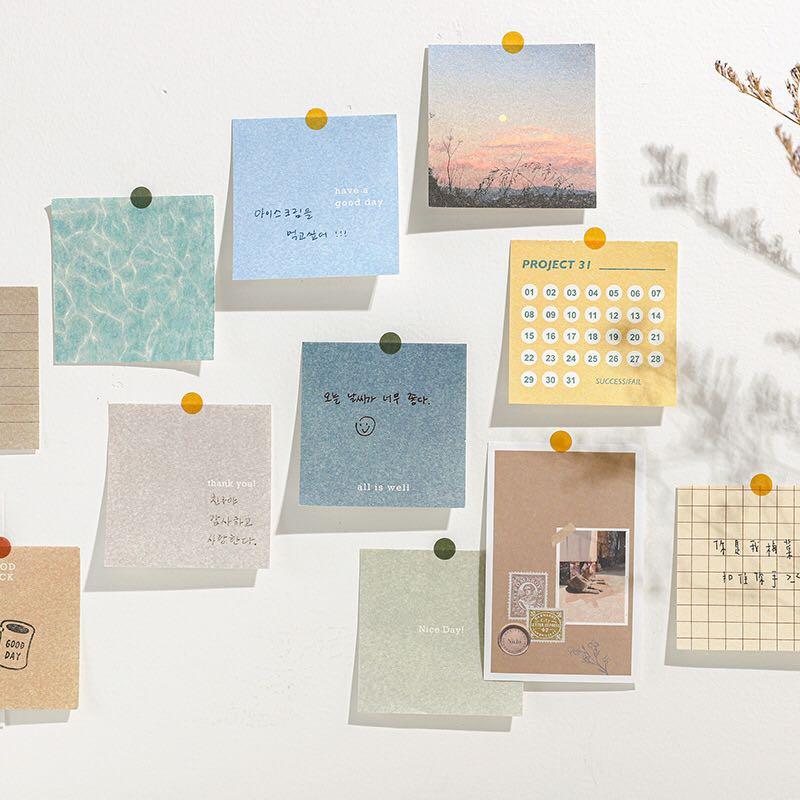 Jianwu conjunto de papelaria 400 folhas, estilo fresco, bloco de notas, material diário básico, nota pegajosa, plano portátil, material escolar