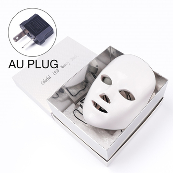 7 Colors Led Therapy Mask Light Face Mask Therapy Anti Acne Whitening Facial Mask Korean Skin Care Face Rejuvenation Home SPA - AU Plug Box