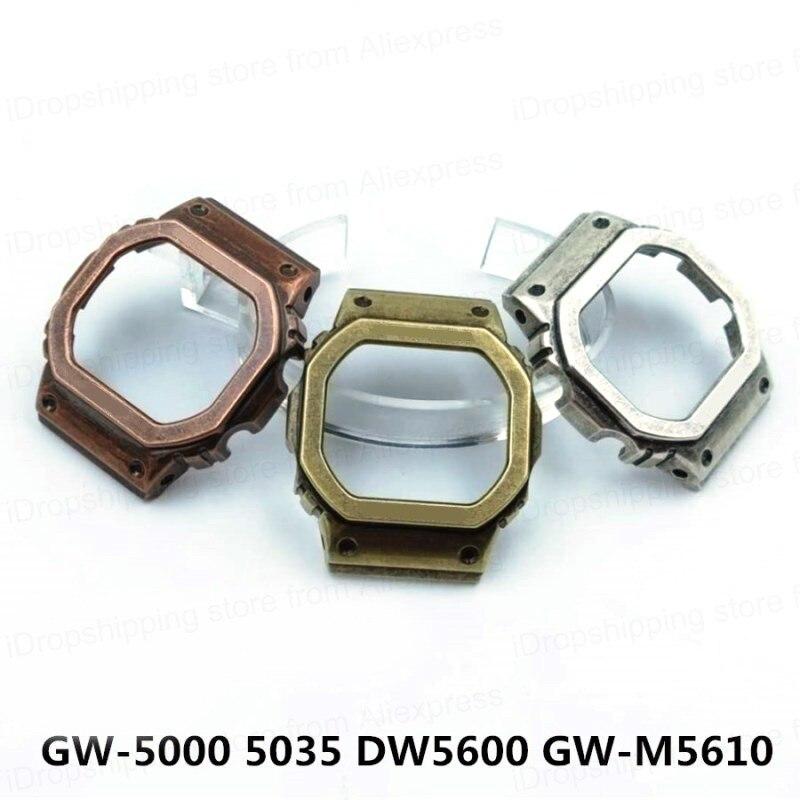 Rétro 5600 métal lunette couverture Bracelet de montre GWM5610 DW5600 montre Bracelet et boîtier lunette en acier inoxydable Bracelet en acier cadre de ceinture + outils-in Bracelets from Montres    1