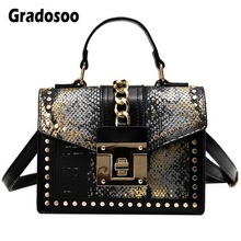 Gradosoo Fashion Rivet Shoulder Bags For Women Serpentine Handbag Female Luxury Leather Bag Women Messenger Bag Brand New HMB641