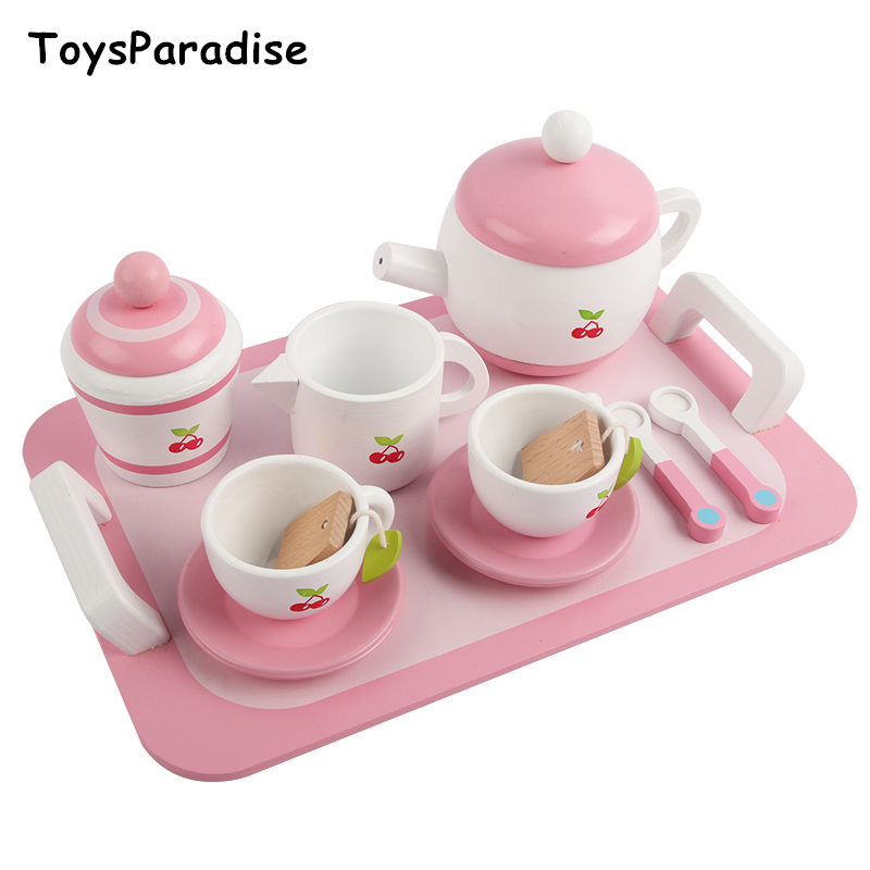 Baby Toys Simulation Toaster Breakfast Early Tea Set Wooden Toys For Kids Pizza Pretend Play Kitchen Toy Ucational Birthday Gift
