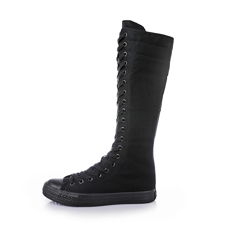 2019 New Spring Autumn Women Shoes Canvas Casual High Top Shoes Long Boots Lace-Up Zipper Comfortable Flat Boots Sneakers R3-19