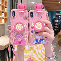 Cute Japan Sailor Moon Silicone Anime Bracket Phone Case For Huawei P20 30 Pro Mate 10 20 Pro TPU Back Cover For Nova 2 3 4 5