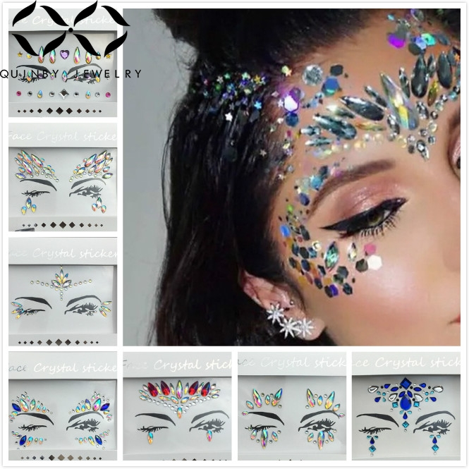 Quinby Musical Festival Eyebrow Jewelry Acrylic Crystal Tattoo Sticker Party Temporary Face Body Rhinestone Stickers Q5