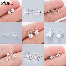 SMJEL Neue Ankunft Bohemian Kleinen Tiny Feder Stud Ohrringe für Frauen Schöne Blatt Ohrring Brincos Brinco Hochzeit Geschenke