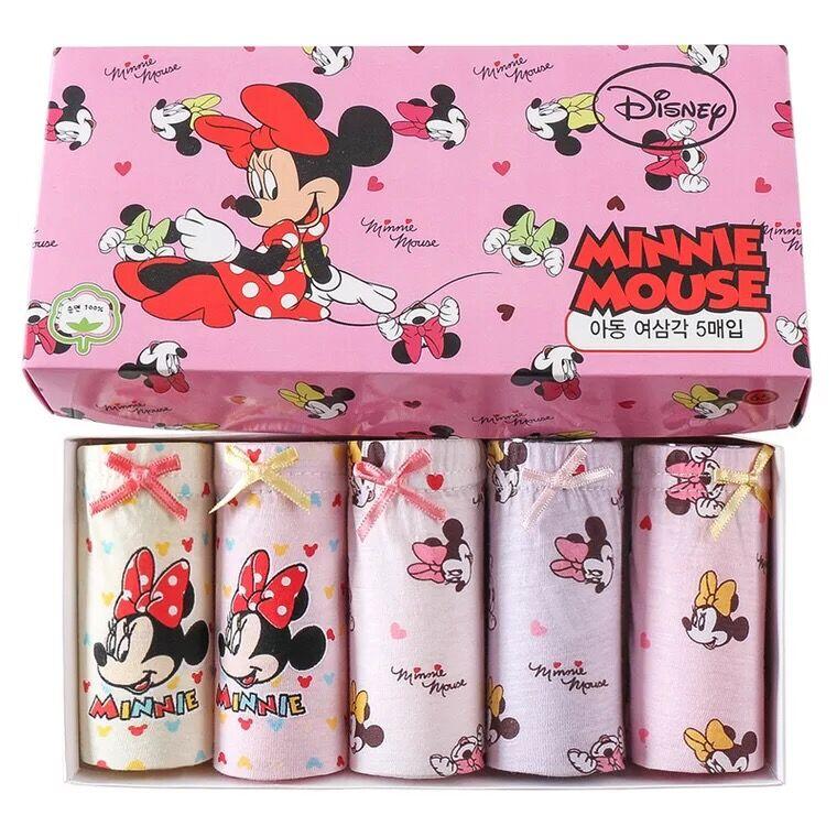 Coffret Original 5 pièces/ensemble Disney Mickey Mouse Minnie enfants caleçons enfants sous-vêtements en coton jouet bébé cadeau d'anniversaire poupée en peluche
