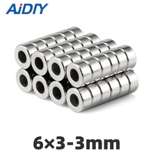 AI DIY 5/20/50Pcs 6x3mm Hole 3mm N35 Super Strong Ring Countersunk Magnets Mini Small Bulk Permanent Neodymium Magnet 6*3-3mm