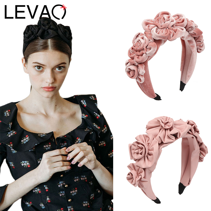 LEVAO Velvet Flower Headband Elegant Synthetic Leather Hairbands Bezel Turban Women Girls Hair Accessories Hair Hoop Headwear