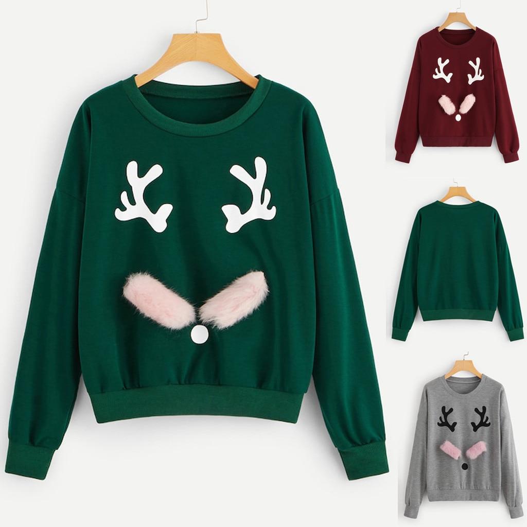 sudadera mujer Merry Christmas Xmas hoodies women Long Sleeve O-Neck Pullover Elk Top Sweatshirt oversized hoodie