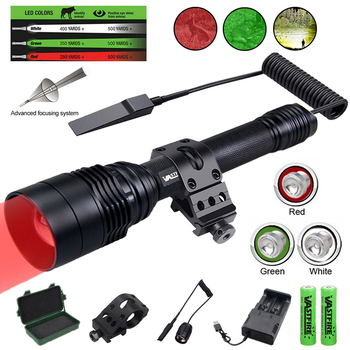 XRE Red Green White Predator Light LED Tactical Flashlight Zoom Focus Adjustable Torch for Hunting Fishing Coyote Hog Varmint