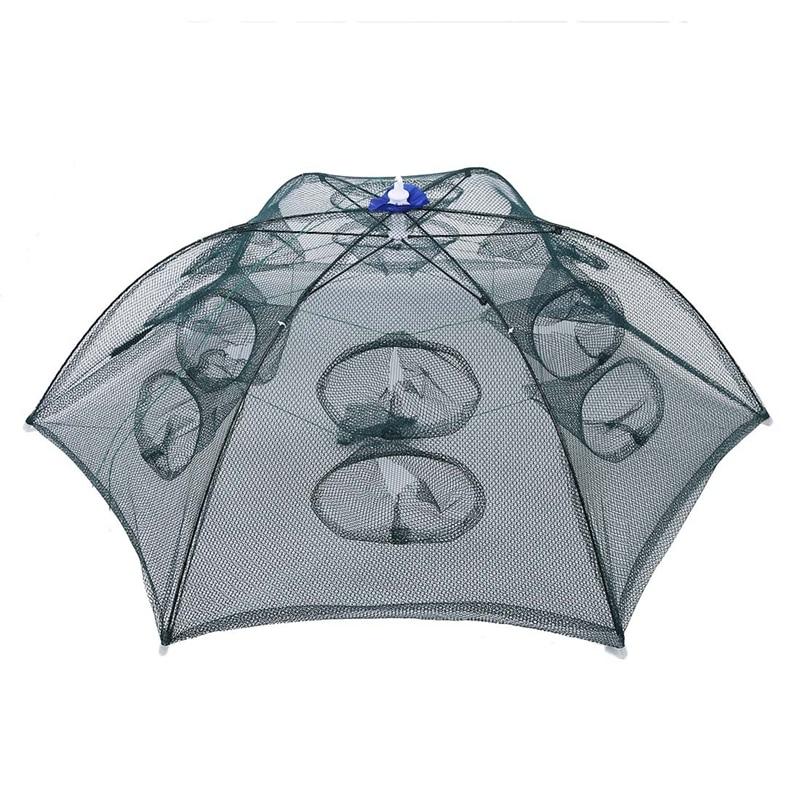 Trap Net Fishing Camaron Cage Portable Umbrella Style Foldable with 12 Hole PF