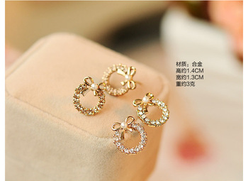 Brincos Para As Mulheres Real Earing 2019 Japanese And Korean Fashion New Elegant Bow Earrings Zircon Ladies Banquet Wholesale  5