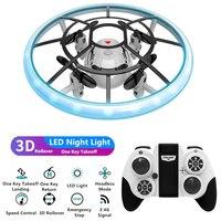 Dron teledirigido 3D acrobático cuadricóptero con una tecla para despegue/aterrizaje estable, modo sin cabeza, con un clic de retorno, luz LED colorida