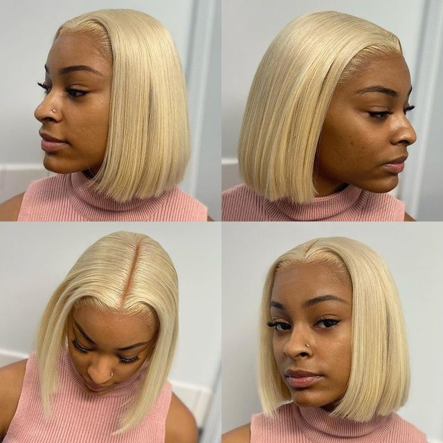 4x4 Lace Closure Blonde Bob Wig 613 Blonde Closure Wig Remy Human Hair Straight Short Bob Wig Middle Part 4x4 Lace Closure Wig 4