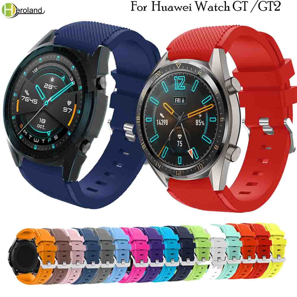 For HUAWEI WATCH GT 2 46mm Smart Watch Strap Replace Wristband 22mm Silicone Bracelet For Huawei Watch GT 46 /42mm /Active