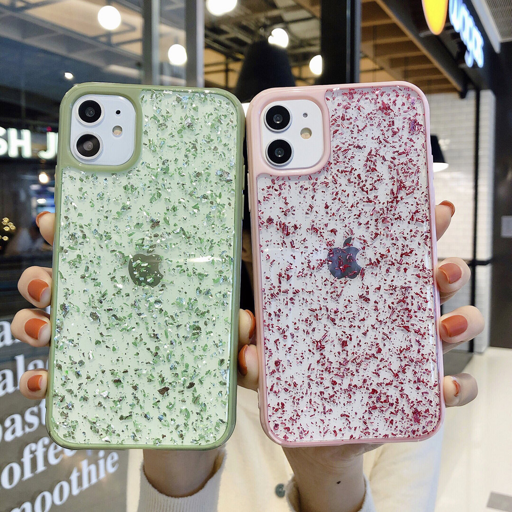 <font><b>Glitter</b></font> Sparkle Gold Folie Pailletten Telefon Fall Für <font><b>iPhone</b></font> 11 Pro X XR XS Max 6 <font><b>6s</b></font> 7 8 plus Transparent Weichen Silikon TPU Zurück Fall image