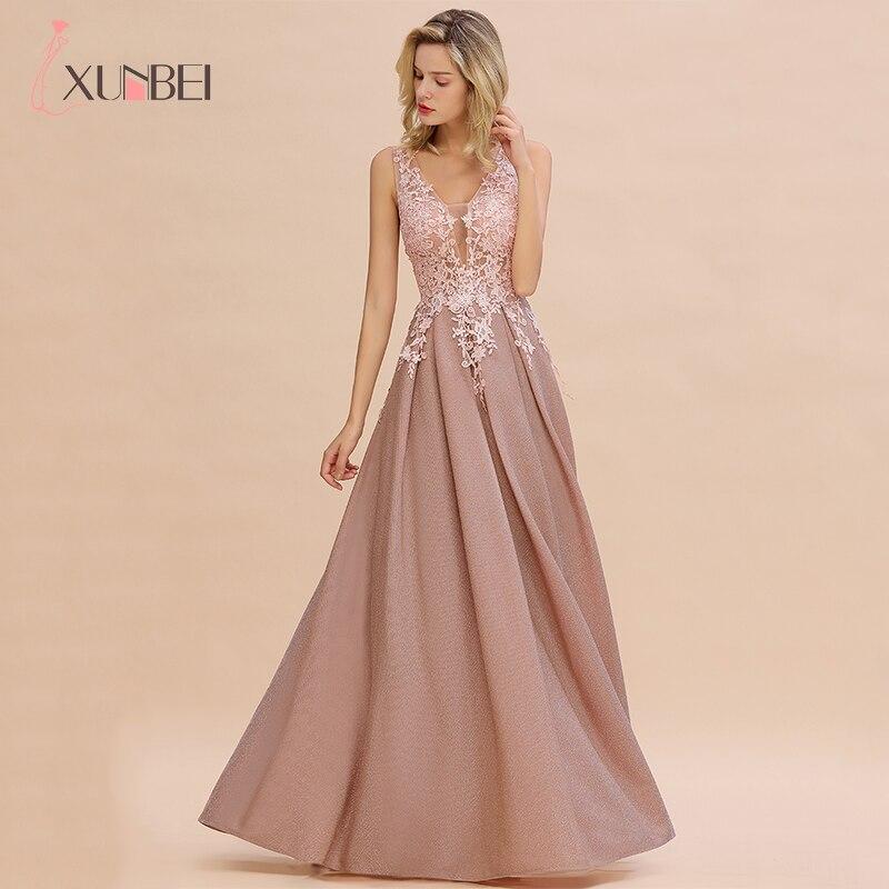2019 nouveautés longues robes de soirée en dentelle col en v robe à fermeture éclair robes formelles vraies Photos Vestidos Elegantes