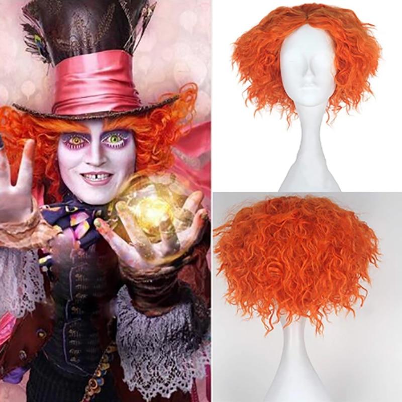 HAIRJOY Synthetic Hair  Mad Hatter Alice's Adventures in Wonderland Curly Short Orange Cosplay Wig