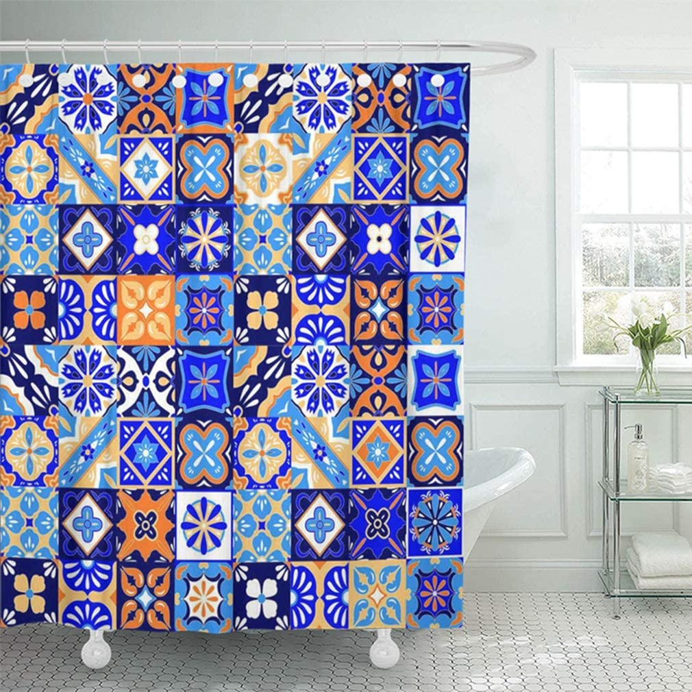 72x72 inch home decor bathroom colorful pottery mexican talavera tiles in blue orange and white yellow geo mexico shower curtain