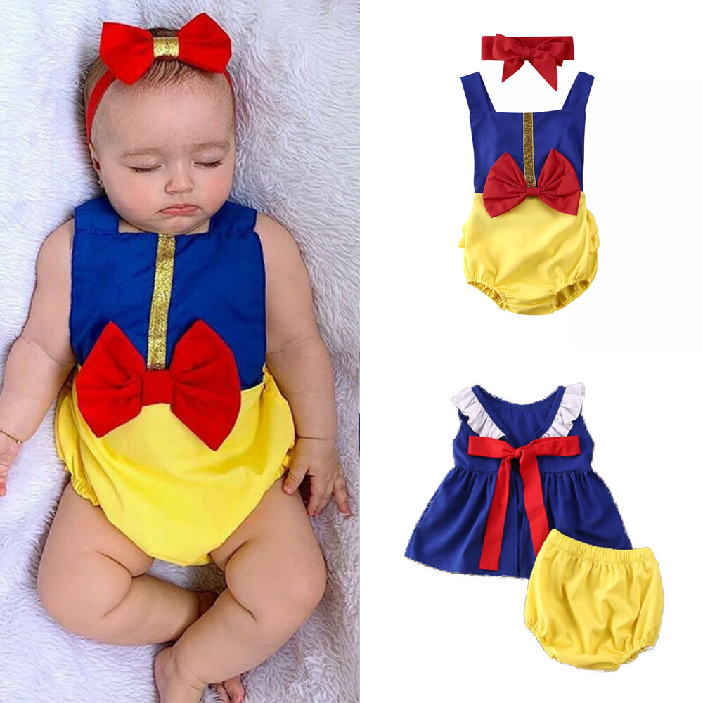 US Snow White Toddler Baby Girl Romper Tops Dress+Shorts Outfit Clothes 2Pcs Set