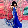 فستان حفلة طويل باللون الأزرق الملكي 2021 ، حورية البحر ، ياقة شفافة ، زينة ، أسود ، فساتين سهرة للنساء