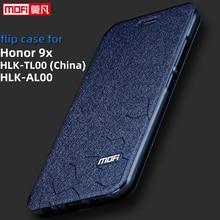 Flip Dành Cho Huawei Honor 9x Ốp Lưng HLK AL00 Danh Dự 9x Bao 6.59 Inch Cpu Kirin 810 Lưng Da Mofi Sách Silicon lấp Lánh Sang Trọng