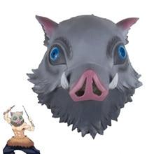 Demônio slayer kimetsu não yaiba cosplay hashibira inosuke máscara de javali selvagem látex adulto halloween máscaras traje prop
