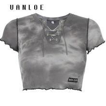 Женская футболка с принтом и цепочками летние модные повседневные