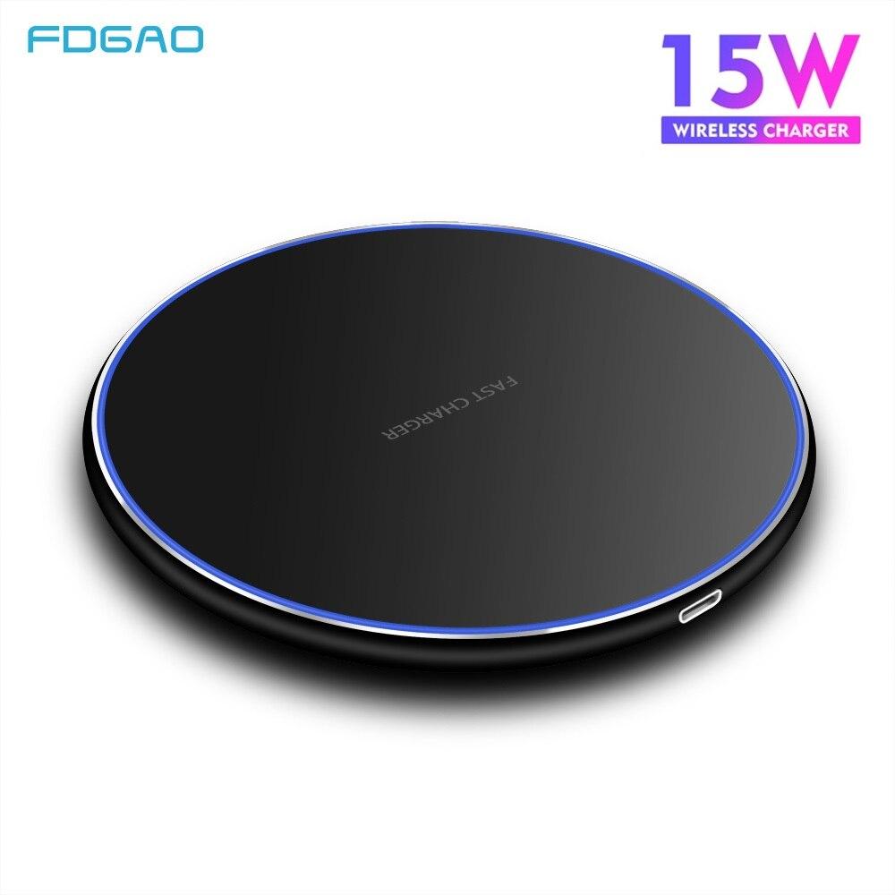 FDGAO 15W chargeur sans fil Super rapide pour Samsung S8 S9 S10 iPhone 11 Pro X XS MAX XR 8 Huawei P30 Pro Qi rapide 10W chargeur