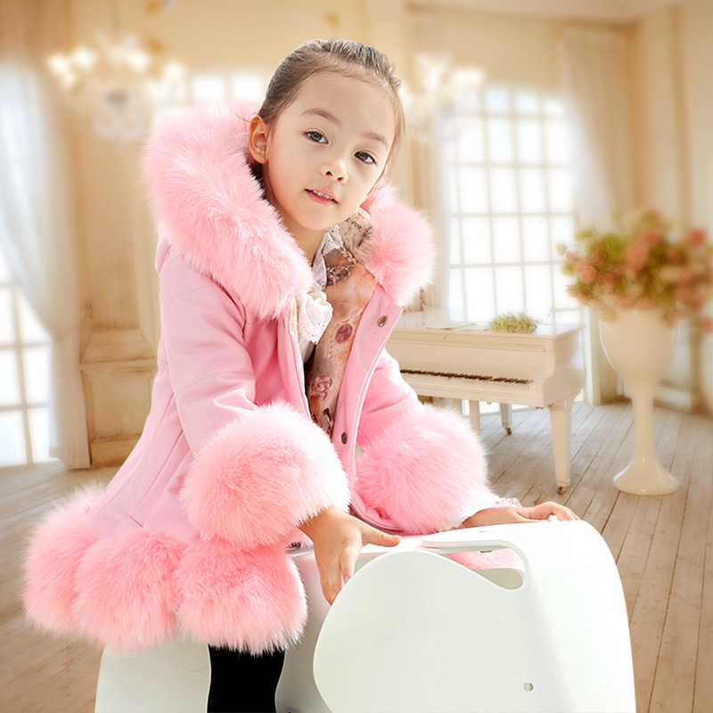 Fashion Baby Winter Warm Fur Coats For Girls Long Sleeve Hooded Thick Girls Jacket For Christmas Party Kids Fur Outwear Clothing