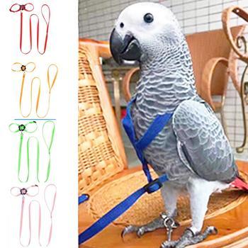Pet Bird Harness and Leash Adjustable Parrot Bird Harness Leash Pet Anti Bite Training Rope Soft Portable Pet Playthings