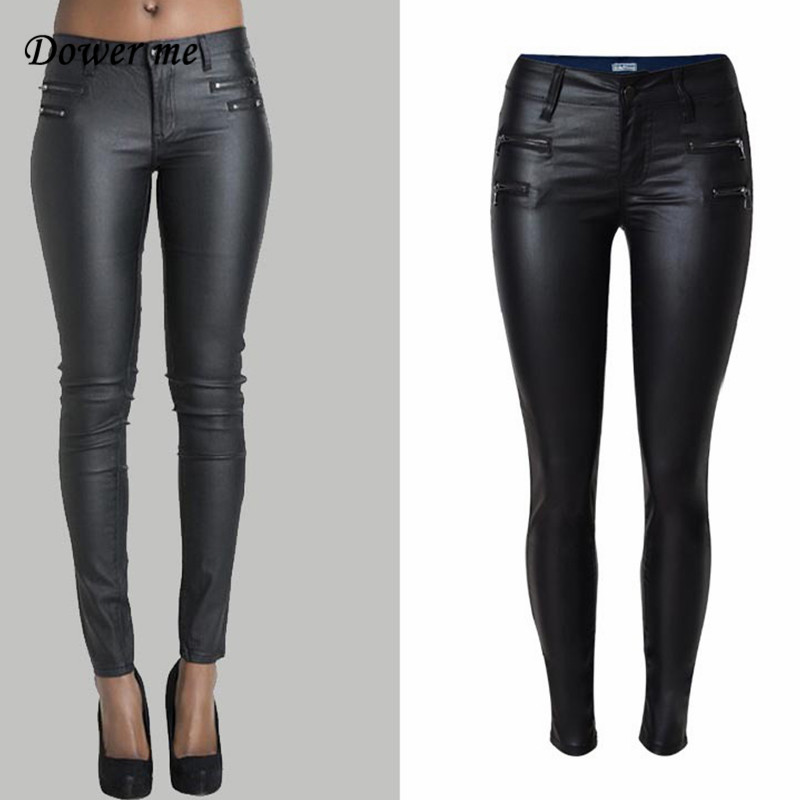 Dower Me Tight PU Coating Imitate Leather Trousers 2019 Fashion Fake Zippers Women's Plants Low-waist Elastic Pencil Pants KZ009